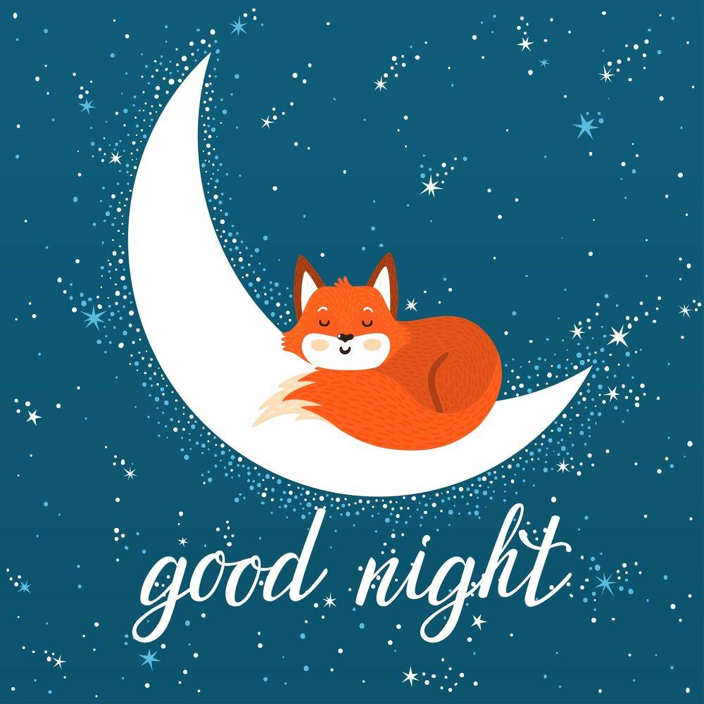 Картинки с надписью доброй ночи лисенок