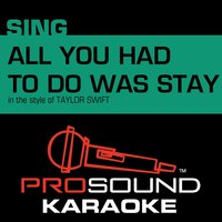 All You Had to Do Was Stay (In the Style of Taylor Swift) — Karaoke